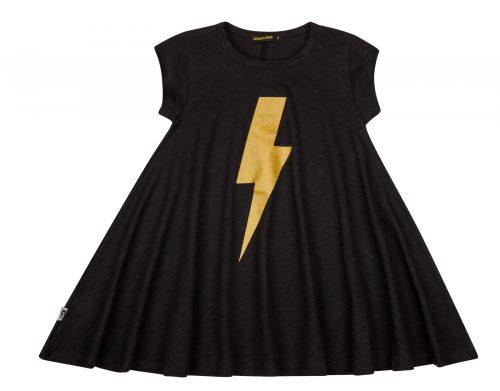 שמלה מסתובבת שחור ברק