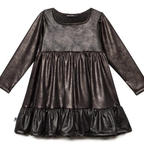שמלת קומות ילדות שחורה מבריקה