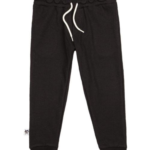 מכנסי וופל שחור